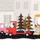 Christmas,Truck,Car,City,Retro Revival,Winter,House,Christmas Tree,Urban Scene,Cartoon,Fir Tree,Bus,Transportation,Street,Holiday,Silhouette,Christmas Decoration,Lighting Equipment,Concepts,Tree Topper,Window,Frost,Ideas,Outdoors,Vector,Speed,Snowflake,Ilustration,Moving Toward,Christmas,Vector Cartoons,Holidays And Celebrations,Illustrations And Vector Art,Transportation,December,Hanging,Cold - Termperature,Snowing,Vibrant Color,Cultures,Multi Colored