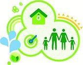 Family,House,Environment,Symbol,Green Color,Residential Structure,Sign,Happiness,Greenhouse,Child,Computer Icon,Parent,Silhouette,Nature,Lifestyles,Key,Environmental Conservation,Harmony,Outdoors,Circle,Vector,Rainbow,Offspring,Concepts,Ideas,Leaf,Drop,Butterfly - Insect