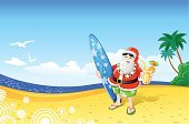 Santa Claus,Beach,Christmas,Summer,Surfing,Tropical Climate,Cartoon,Holiday,Palm Tree,Tree,Vector,Heat - Temperature,Surfboard,Sea,Cocktail,Sand,Coastline,Landscape,Seagull,Nature,Cloudscape,Bird,Nature,Blue,Sky,Vector Cartoons,Illustrations And Vector Art,Holidays And Celebrations,Bodies Of Water,Christmas