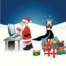Santa Claus,Christmas,Truck,Humor,Internet,Shopping,Cartoon,Winter,Laziness,Computer,Landscape,Delivering,Gift,Credit Card,Using Computer,Ice,Road,Snow,E-Mail,Computer Keyboard,Ordering,Vector,Secrecy,Ilustration,Intelligence,PC,Season,Concepts And Ideas,Buying,Computer Monitor,Christmas,Illustrations And Vector Art,Holidays And Celebrations,Santa Hat