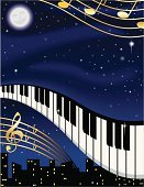 Musical Note,Piano Key,Sheet Music,Treble Clef,Performance,Musical Staff,Star - Space,Gold Colored,Moon,Night,Blue,Man in the Moon,Full Moon,City,Vector,Urban Scene,Music,Arts And Entertainment,No People,Illustrations And Vector Art