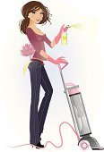 Cleaner,Stereotypical Housewife,Vacuum Cleaner,Women,Housework,Spring Cleaning,Ilustration,Duster,Vector,Working,Busy,Jeans,Spray Bottle,Clip Art,One Woman Only,Washing Up Glove,Adults,People,Illustrations And Vector Art,Lifestyle