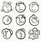 Human Face,Smiling,Smiley Face,Men,Cartoon,Sketch,Doodle,People,Human Head,Child,Facial Expression,Characters,Humor,Vector,Emotion,Black Color,Women,Computer Graphic,Creativity,Collection,Ilustration,Contour Drawing,Painted Image,Vector Cartoons,Illustrations And Vector Art,Fun,People