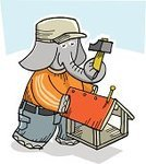 Elephant,Cartoon,Animals And Pets,Illustrations And Vector Art,Wild Animals,Teens,Sports Cap,Lifestyle,Hammer,Sports Clothing,Shirt,Cap,Red,Orange Color,sport suit