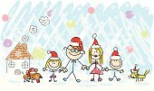 Christmas,Family,Dog,Child,Cartoon,Drawing - Art Product,Domestic Cat,House,Offspring,Winter,Ilustration,Snow,Doodle,Santa Claus,Father,Child's Drawing,Pets,Home Interior,Cheerful,Happiness,Pencil Drawing,Hat,Residential Structure,Sketch,Vector,Little Girls,Human Hand,Mother,Togetherness,Celebration,New Year's Day,Group Of People,Holding,Grandmother,Little Boys,Cold - Termperature,Line Art,Outdoors,Color Image,Grandfather,Lifestyle,Image,Smiling,Looking,Holidays And Celebrations,Families,Christmas,New Year's,Looking At Camera