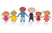 Multi-Ethnic Group,Child,Variation,Friendship,Family,Offspring,Holding Hands,Cartoon,Community,Cultures,Ethnic,Brother,Preschooler,Individuality,Elementary Age,Happiness,Little Boys,Little Girls,People,Cheerful,Childhood,Smiling,Unity,Sister,Positive Emotion,Togetherness,Multi Colored,Babies And Children,People,Vector Cartoons,Human Gender,Illustrations And Vector Art,Horizontal,Lifestyles,Vector,Lifestyle