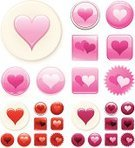 Heart Shape,Interface Icons,Valentine's Day - Holiday,Pink Color,Love,Symbol,Computer Icon,Shiny,Label,Vector,Icon Set,Romance,Design,Red,Ilustration,Digitally Generated Image,Set,Colors,White Background,No People,Color Image