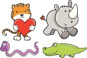 Rhinoceros,Tiger,Cute,Snake,Alligator,Safari Animals,Vector,Animal,Set,Undomesticated Cat,Illustrations And Vector Art,Animals And Pets