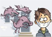 Child,Illness,Swine Influenza Virus,Chaos,Fear,Virus,Anxiety,Russian Influenza,Healthcare And Medicine,Epidemic,Domestic Pig,Animals In The Wild,Pig,Beauty And Health,Threats,Illustrations And Vector Art,Danger,Pork,Medicine And Science,Rushes - Plant,Poisonous Organism,Aggression
