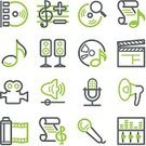 Video,Symbol,Information Medium,Camera - Photographic Equipment,Computer Icon,Music,Icon Set,Movie,Sign,Musical Note,Green Color,File,Sound,Internet,Treble Clef,Record,Interface Icons,www,Photograph,CD,DVD,Television Set,Control,Sound Mixer,Megaphone,Speaker,Document,Computer,Vector,Connection,White,Web Page,Arts Symbols,Technology,Technology Symbols/Metaphors,Vector Icons,Illustrations And Vector Art,Contour Drawing,Gray,Arts And Entertainment