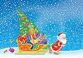 Sled,Santa Claus,Christmas Card,Sleigh,Christmas,Cartoon,Pulling,Ilustration,Gift,Dragging,Christmas Present,St Nicholas,Snowing,Christmas,Illustrations And Vector Art,grandfather frost,December,Holidays And Celebrations,Holiday Backgrounds,sackful,christmastide,Snow,Blizzard,Winter