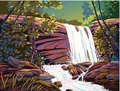 Waterfall,Tree,Landscape,Ilustration,Tropical Rainforest,Stream,Vector,Nature,Forest,Water,Rock - Object,Paintings,Scenics,Stone,Drawing - Art Product,Painted Image,Beauty In Nature,Tranquil Scene,Composition,Colors,Power,Pastel Colored,Bodies Of Water,Vector Backgrounds,Landscapes,Horizontal,rendered,hand drawn,Illustrations And Vector Art,Nature,Lush Foliage