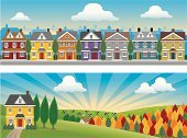 House,Street,Residential Structure,Built Structure,City,Banner,Urban Scene,Non-Urban Scene,Road,Tree,Sky,Grass,Field,Sunbeam,Forest,Cloud - Sky,Bush,Cultivated Land,Landscapes,Architecture And Buildings,Homes,Vector Backgrounds,Copy Space,Illustrations And Vector Art,Nature
