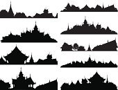 Thailand,Temple - Building,Pagoda,Asia,Silhouette,Buddhism,Roof,Built Structure,Vector,Computer Graphic,East Asian Culture,Outline,Ilustration,Architecture,Urban Scene,Focus On Foreground,Building Exterior,Spire,Design Element,Ornate,Variation,Religion,Illustrations And Vector Art,Set,Places Of Worship,Architecture And Buildings,Collection