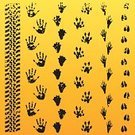 Animal Track,Paw Print,Track,Footprint,Caterpillar Track,Animal Themes,Black Color,Vector,Human Hand,Claw Mark,Ilustration,Cartoon,Zoo,Yellow,Isolated On White,Symbol,Design Element,Circus,Outline,Silhouette