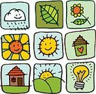 Child's Drawing,House,Symbol,Sketch,Nature,Weather,Hill,Sun,Green Color,Built Structure,Single Flower,Flower,Icon Set,Cute,Energy,Doodle,Leaf,Light Bulb,Cheerful,Happiness,Landscape,Cloud - Sky,Set,Ilustration,Building Exterior,Vector,Outdoors,Non-Urban Scene,Environmental Conservation,Nature,Illustrations And Vector Art,Nature Symbols/Metaphors,Pencil Drawing,Vector Icons,Petal,Concepts And Ideas