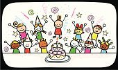 Birthday,Child,Party - Social Event,Cartoon,Offspring,Cake,Happiness,Dancing,Little Boys,Cheerful,Little Girls,Candle,Vector,Drawing - Art Product,Group Of People,Pencil Drawing,Party Hat,Celebration,Fun,Child's Drawing,Domestic Life,Ilustration,Sketch,Doodle,Smiling,Joy,Characters,Image,Color Image,Playful,Looking At Camera,Birthdays,Lifestyle,Holidays And Celebrations,Babies And Children