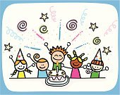 Birthday,Child,Party - Social Event,Cartoon,Offspring,Little Girls,Vector,Cake,Happiness,Little Boys,Child's Drawing,Drawing - Art Product,Cheerful,Doodle,Ilustration,Celebration,Sketch,Fun,Pencil Drawing,Group Of People,Party Hat,Candle,Holidays And Celebrations,Babies And Children,Characters,Domestic Life,Image,Lifestyle,Smiling,Looking At Camera,Joy,Playful,Color Image,Birthdays