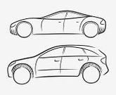 Car,Sketch,Sports Car,Side View,Elegance,Vector,Design,4x4,Contour Drawing,Isolated,Hatchback,Black Color,Transportation,Consumerism,hand drawn,Concepts And Ideas,Objects/Equipment