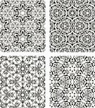 Middle Eastern Ethnicity,Islam,Seamless,Wallpaper,Backgrounds,Decoration,Vector,Ornate,Black Color,White,Set,Wallpaper Pattern,Black And White,Silhouette,No People,Vector Ornaments,Vector Backgrounds,Illustrations And Vector Art,Isolated On White,Small Group of Objects