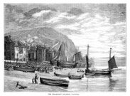 Engraving,Engraved Image,Sea,Drawing - Art Product,Nautical Vessel,Hastings - England,Beach,Stade,Fishing Industry,Fishing Boat,19th Century Style,Anchor,Sail,Ilustration,England,Ephemera,Industry,English Culture,Image Created 19th Century,Image Created 1880-1889,Building Exterior,Rowboat,Sailboat,British Culture,Black And White,Clapboard,Crowd,UK,Old Town,People,Monochrome,The Stade,Victorian Architecture,1880,Print,Coastline,Shed,Hill,Water's Edge,Sussex,Spectator,Cliff,Hut,Victorian Style