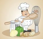 Chef,Cooking,Cartoon,Symbol,Humor,Food Service Occupation,Chef's Hat,Gourmet,Restaurant,Ilustration,Aspirations,Occupation,Job - Religious Figure,Meal,Positive Emotion,Happiness,Healthy Lifestyle,Food And Drink,Smiling,Service,Characters,Healthy Eating,People,Vector Cartoons,Commercial Kitchen,Illustrations And Vector Art,Imagination,Uniform,Professional Occupation,Cheerful,Creativity,Expertise