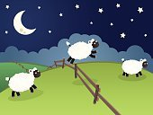 Sheep,Sleeping,Moon,Night,Bedtime,Star - Space,Cartoon,Farm,Star Shape,Fence,Counting,Vector,Cloud - Sky,Field,Sky,Cute,Animal,Landscape,Hill,Non-Urban Scene,Green Color,Flock Of Sheep,Rural Scene,Grass,Rolling Landscape,Boundary,Art Product,Color Image,Dark,Image,Pasture,White,No People,Art and Craft Product,Blue,Mammal,Man Made Object,Horizontal,Outdoors