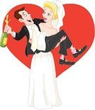 Wedding,Bride,Bridegroom,Cartoon,Couple,Humor,Vector,Married,Symbol,Fun,Heterosexual Couple,Valentine's Day - Holiday,Ilustration,Women,Female,Love,Day,Black Color,Men,Cheerful,Romance,Wife,White,Champagne,Newlywed,Heart Shape,Holding,Celebration,Dress,Male,Greeting,Holiday,Smiley Face,Wedding Ceremony,Husband,Holidays And Celebrations,People,Illustrations And Vector Art,Weddings,Wedding Dress,Suit,Smiling