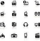 Symbol,Video,Computer Icon,Icon Set,Music,Entertainment,Black Color,Television Set,Headphones,Telephone,The Media,Technology,Multimedia,Vector,Speaker,Film Slate,Simplicity,CD,Laptop,Video Game,Mobile Phone,Desktop PC,MP3 Player,CD-ROM,Group of Objects,Broadcasting,Camera Film,SLR Camera,Boom Box,Palmtop,Portable Radio,Information Symbol,Internet Icon,Technology,Vector Icons,Telecom,Communications Technology,Technology Symbols/Metaphors,Illustrations And Vector Art
