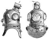 Underwater Diving,Work Helmet,Sea,Antique,Old-fashioned,Old,Retro Revival,Obsolete,Nautical Vessel,Helm,Black And White,Victorian Style,Equipment,White Background,History,Copper,The Past,Objects/Equipment,Scuba Helmet,Electric Light,Technology,Horizontal,Two Objects,Metal,diving-helmet,Copy Space,Steel-helmet