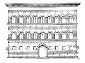 Palace,Built Structure,Strozzi,Drawing - Art Product,Facade,Ilustration,Florence - Italy,Clip Art,Engraving,Old,Architecture,Engraved Image,Italy,Building - Activity,Renaissance,Tuscany,Drawing - Activity,Building Exterior,Paintings,Window,Construction Industry,Photograph,Line Art,Black And White,Antique,Image Created 19th Century,Classic,Old-fashioned,Still Life,Image,Isolated Objects,Single Object,Studio Shot,Front View,No People,Isolated On White,Industry,Construction,Roof,Residential District,Cut Out,Architecture And Buildings,Famous Place,Close-up,White Background,High Contrast,Vertical,Palazzo Strozzi