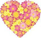 Heart Shape,Pink Color,Flower,Floral Pattern,Yellow,Holidays And Celebrations,Weddings,Valentine's Day,Illustrations And Vector Art,Vector Florals,Valentine's Day - Holiday,Vector,Ilustration,Petal,Romance