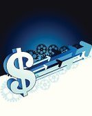 Dollar Sign,Gear,Arrow Symbol,Currency,Finance,Business,Bankruptcy,Illustrations And Vector Art,Business Backgrounds,Business Symbols/Metaphors,Business,Vector,Ilustration,White,Blue