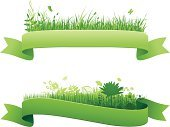 Banner,Green Color,Grass,Field,Ribbon,Flower,Art Title,Leaf,Springtime,Floral Pattern,Vector,Nature,Environment,Backgrounds,Butterfly - Insect,Swirl,Vitality,Freshness,Set,Horizontal,Part Of,Growth,Vector Backgrounds,Illustrations And Vector Art,No People,Vector Ornaments,Vector Florals
