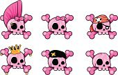 Human Skull,Cute,Pirate,Pink Color,Little Girls,Punk,Human Bone,Hair Bow,Vector,Heart Shape,Symbol,King,Female,Crown,Icon Set,Humor,Set,Human Face,Ilustration,Vector Icons,Illustrations And Vector Art,Danger,Color Gradient