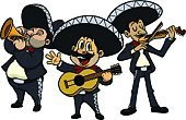 Mariachi Band,Mexican Ethnicity,Mariachi (Mexican),Mexican Culture,Sombrero,Cartoon,Men,Trio,Vector,Music,Mustache,Music Style,Trumpet,Violin,Stereotypical,Guitar,Playing,Standing,Acoustic Guitar,Illustrations And Vector Art,Mid Adult Men,Arts And Entertainment,Music,Vector Cartoons,Plucking An Instrument