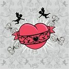 Cupid,Tattoo,Love,Pattern,Heart Shape,Baroque Style,Vector,Valentine's Day - Holiday,Valentine's Day,Weddings,Illustrations And Vector Art,Red,Holidays And Celebrations
