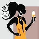 Wine,Women,Teenage Girls,Silhouette,Party - Social Event,Champagne,Drink,Glass,Celebratory Toast,Female,Black Color,Body,Elegance,Human Hair,Vector,Beauty,Sex Symbol,Dating,Adult,Alcohol,Beautiful,Celebration,Flirting,One Person,Lifestyles,Ilustration,Happiness,Glamour,People,Adults,Lifestyle,The Human Body,Fun,Love,Illustrations And Vector Art