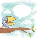 Animal,Cute,Speech,Bird,Tree,Drawing - Art Product,Hand-drawn,Talk,Communication,Message,Ilustration,Sky,Communication,Birds,Animals And Pets,Leaf,Characters,Speech Bubble,Concepts And Ideas