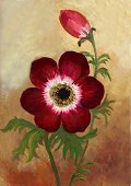 Watercolor Painting,Flower,Paintings,Painted Image,Leaf,Plant,Anemone Flower,Art Product,Ilustration,Design,Red,Brush Stroke,Textured,No People,Bud,Arts And Entertainment,Oil And Acrylic,Colored Background,Nature,Stem,Visual Art,Vertical,Full Frame,Green Color,Color Image