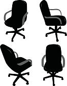 Office Chair,Office Interior,Furniture,Silhouette,Chair,Vector,Isolated,Business,Black Color,Working,Seat,Equipment,Ilustration,Business,Objects/Equipment,Set,Isolated Objects,Wheel,Comfortable,Single Object,Design