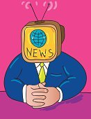 Television Set,Newscaster,The Media,Globe - Man Made Object,People,Journalist,Earth,Report,Broadcasting,Global Communications,Ilustration,TV Reporter,Information Medium,Public Speaker,Ideas,Planet - Space,Concepts,Communication,Time,World Map