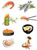 Symbol,Sushi,Prepared Fish,Seafood,Food,Prepared Oysters,Prepared Shrimp,Cooking,Rice - Food Staple,Bamboo,Japanese Culture,Shiitake Mushroom,Crayfish,Salmon,Ebi,Caviar,Edible Mushroom,Crockery,Gourmet,Healthy Eating,Food And Drink,Sushi Rice,Freshness,Illustrations And Vector Art,Food And Drink,Lemon,Cultures,Red Caviar,Cooking,Sushi Styles,Meat And Alternatives,Refreshment,Vector Icons