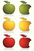 Apple - Fruit,Silhouette,Red,Vector,Green Color,Yellow,Ilustration,Food,White,Image,Clip Art,Isolated,Leaf,Set,No People,Close-up,Color Image,Beautiful,Fruit,White Background,Fruits And Vegetables,Isolated-Background Objects,Shadow,Food And Drink,Isolated On White,Illustrations And Vector Art,Isolated Objects