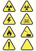 Danger,Symbol,Sign,Warning Sign,Radiation Protection Suit,Warning Symbol,Chemical,Safety,Fire - Natural Phenomenon,flammable,Laboratory,Material,Toxic Substance,Electricity,Label,Hazardous Area Sign,Corrosive,Shock,Biohazard Symbol,Vector,Triangle,Chemistry,Yellow,Human Skull,Blank,Ilustration,Black Color,Medicine And Science,Isolated Objects,Illustrations And Vector Art,Isolated,Science Symbols/Metaphors,Radio Active