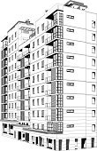 Built Structure,Apartment,Building Exterior,Skyscraper,Architecture,City,Urban Scene,Vector,Residential District,Ilustration,Clip Art,Computer Graphic,White Background,City Life,Tall,Residential Structure,Isolated On White,Digitally Generated Image,Black And White,Modern,Black Color