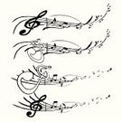 Musical Instrument,Musical Note,Music,Musical Staff,Sheet Music,Musical Symbol,Treble Clef,Symbol,Peace Symbol,Swirl,Flowing,Multiple Image,Decoration,Ilustration,No People,White Background,Arts And Entertainment,Music,Illustrations And Vector Art,Wave Pattern,Design Element,decorative ornament