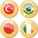 Brazil,Republic of Ireland,Turkey - Middle East,China - East Asia,Award,Medal,Flag,Medallion,Concepts And Ideas,Illustrations And Vector Art,Success,Vector Ornaments,Shiny,Vector Icons,Vector,Ilustration,Gold Colored,Gold