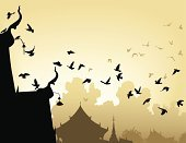 Buddhism,Bird,Flock Of Birds,Temple - Building,Flying,East Asian Culture,Silhouette,Sunrise - Dawn,Pigeon,Asia,Vector,Outline,Urban Skyline,Urban Scene,Computer Graphic,Sunset,Built Structure,Roof,Animal,Architecture,Ilustration,Dusk,Wildlife,Design Element,Yellow,Places Of Worship,Copy Space,Religion,Architecture And Buildings,Perching,Birds,text-space,Dawn,Animals And Pets,Illustrations And Vector Art