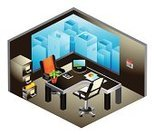 Office Interior,Three-dimensional Shape,Isometric,Desk,Domestic Room,Office Building,Business,Ilustration,Telephone,Computer,Vector,Chair,Window,File,Laptop,Filing Cabinet,Calendar,Graph,Skyscraper,Report,Office Supply,Vector Icons,Illustrations And Vector Art,Business